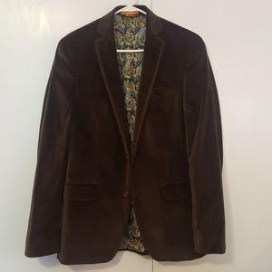 Tallia Orange Men's Brown Velvet Jacket